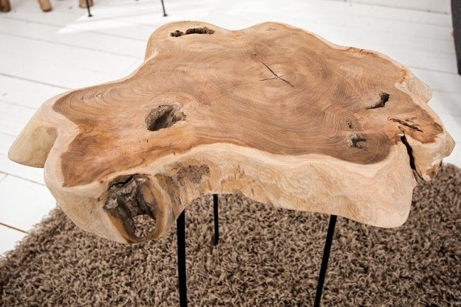 Exklusiver Beistelltisch WILD Baumscheibe Mit Jahresringen Teak Couchtisch  Aus Massivholz