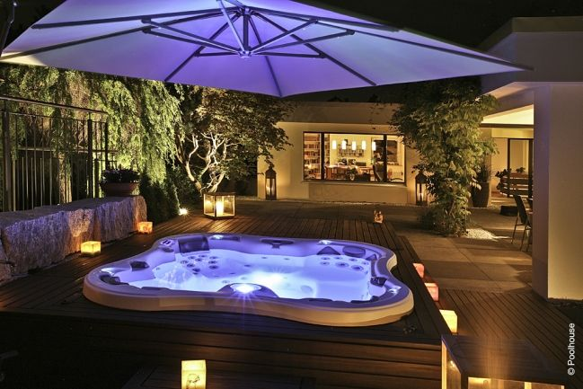 Spa de nuit Dimension One Spas | Terrasse | Jacuzzi jardin ...