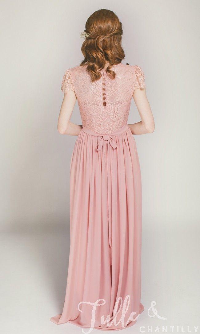 Cap Sleeves Long Lace and Chiffon Bridesmaid Dress TBQP322D ...