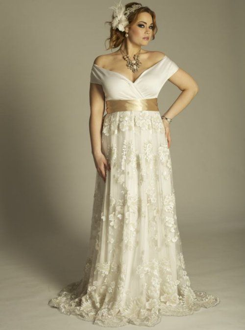 21df93a8a6c1 Prettiest 8 Plus Size Summer Wedding Dresses: Romantic yet sexy off the  shoulder plus size summer wedding dress by IGIGI with V-neck, gold  waistband and a ...