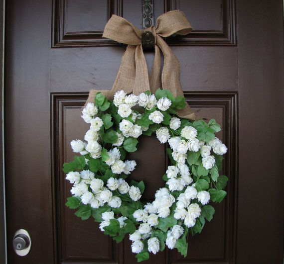 Year Round White Blooms and  Greenery Wreath by TheWrightWreath, $70.00