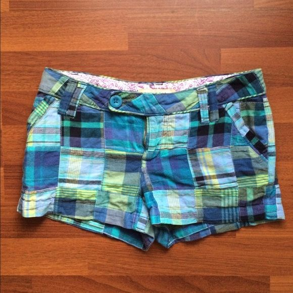 Blue & Green Plaid Shorts These shorts have been worn a few times. There are two buttons (see images). They are super cute but don't fit me anymore! Arizona Jean Company Shorts