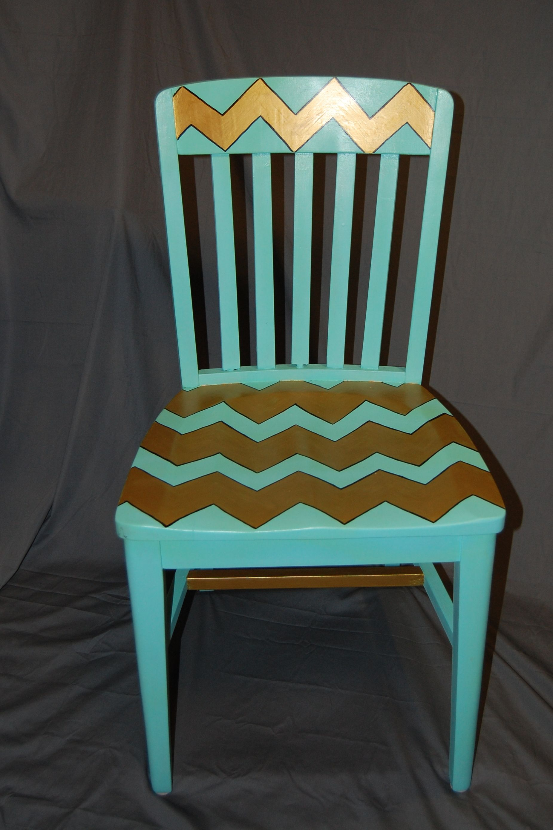 Nifty Thrifty - Mint & Gold Chevron Chair