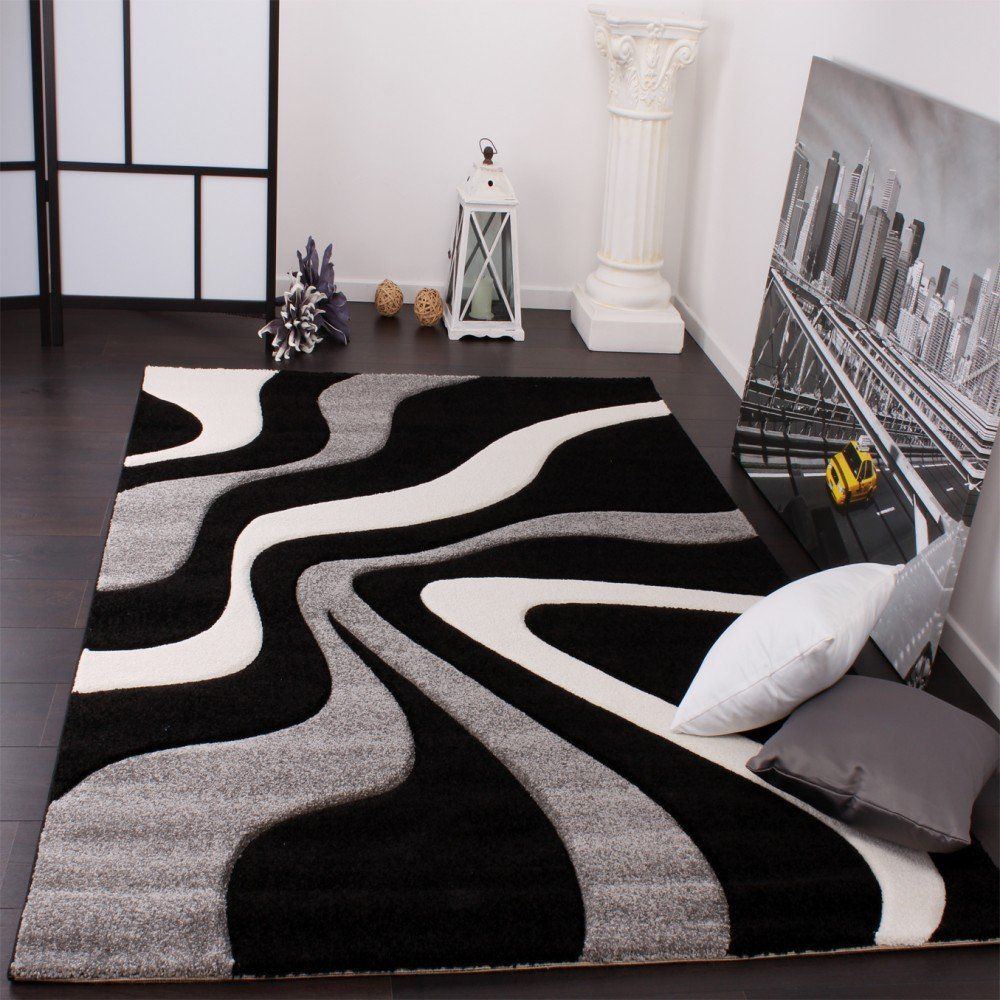 beau tapis salon noir et gris in 2019 | Grey, white rug ...