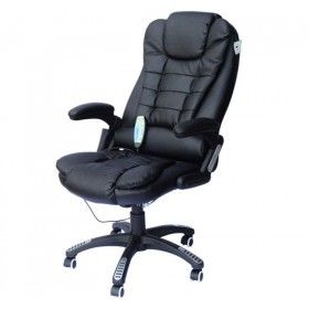 Homcom Pu Leather Office W Mage Function High Back Black