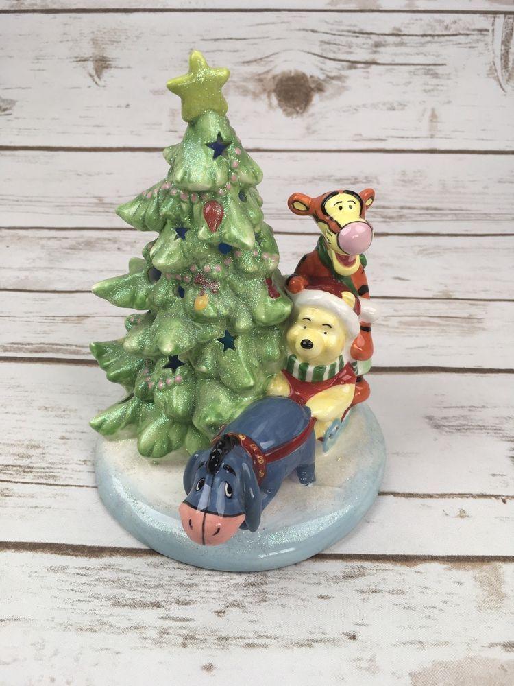 Winnie The Pooh Eeyore Tigger Light Up Glitter Ceramic Christmas Tree Decoration Disney Ceramic Christmas Trees Christmas Tree Decorations Pooh