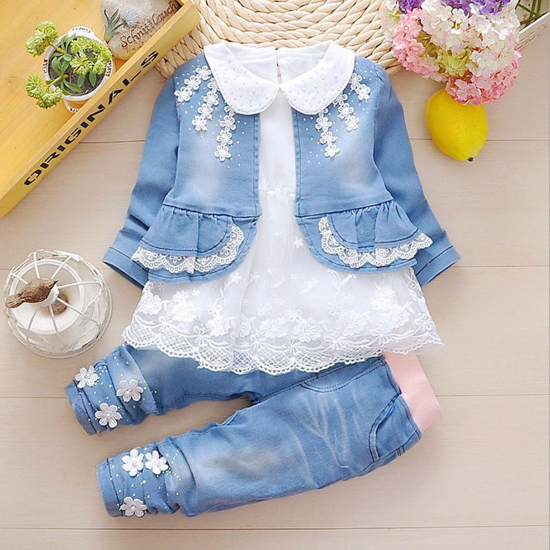 9b8f94ea936ee 3Pcs Baby Girl Toddler Denim Coat + Cotton Lace Shirt + Jeans Clothes  Outfit Set | eBay