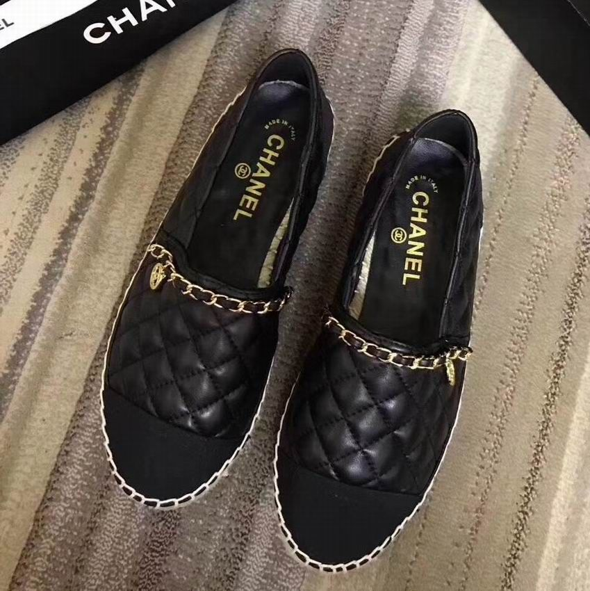 9c3d204a1f5 Chanel Espadrilles Quilted Lambskin Shoes with Chain Black