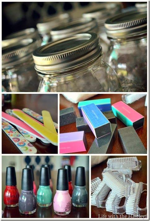 9917e26c8338 Baby Shower Hostess Gifts  DIY Mason Jar Manicure Kit