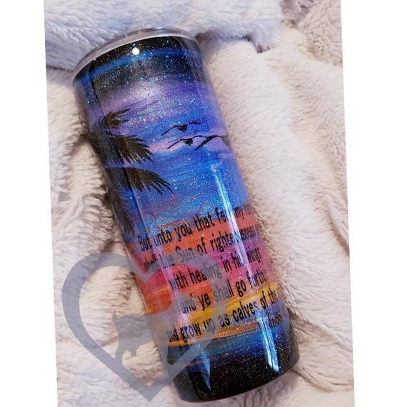 96b86917d06 Sunset//Stainless Steel Tumbler//Beach Lover//Custom Gift//Sunset  Purple//Glitter Tumbler//Palm Tree