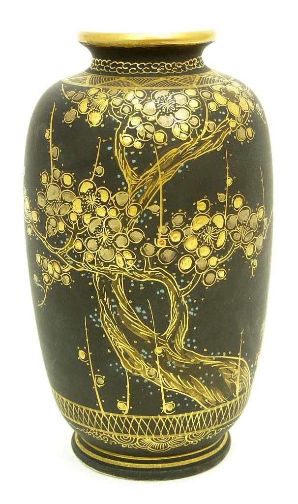 """Antique Satsuma Japanese gold gilt painted vase having a black ground. Holds a red and gold calligraphy mark to bottom. Circa late Edo to Meiji period, 19th century. Measures 4 7/8"""" height (12.3cm). Total weight of 95dwt."""