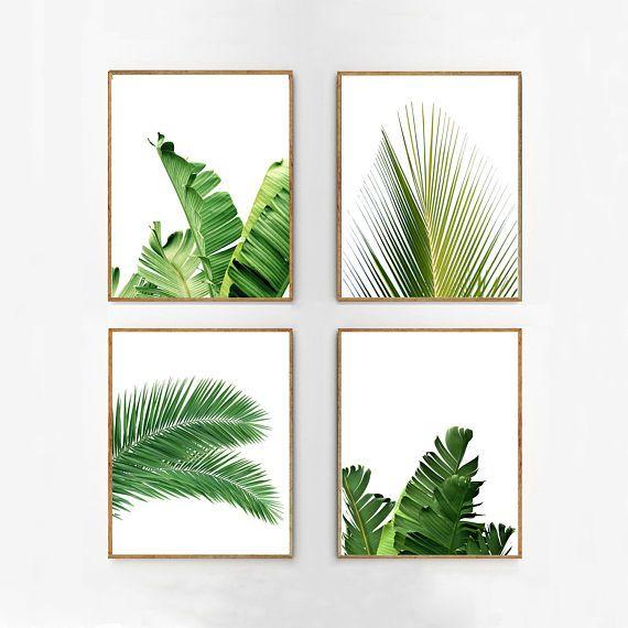 Superbe Set Of 4 Tropical Leaves, Leaf Prints Set, Green Wall Art, Minimalist  Posters, Palm Leaf Banana Leaf Tropical Wall Art Nordic Nature Prints