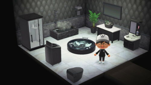 Animal Crossing New Horizons Bathroom Furniture Set Black Ebay In 2020 Animal Crossing Animal Crossing Guide Animal Crossing 3ds