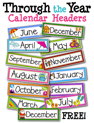 Free Monthly Labels For Classroom Calendar  Kinderland