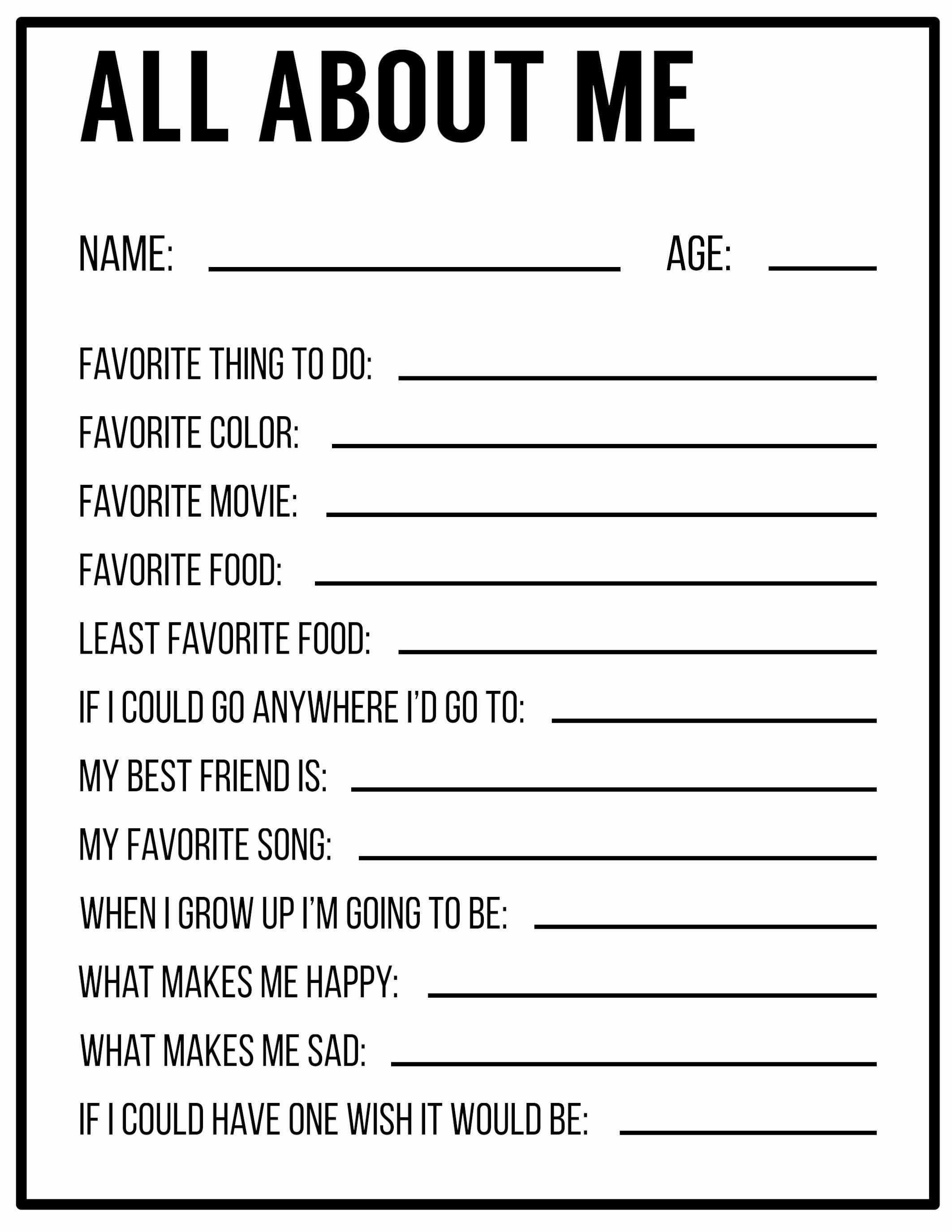 50 All About Me Printable Worksheet In