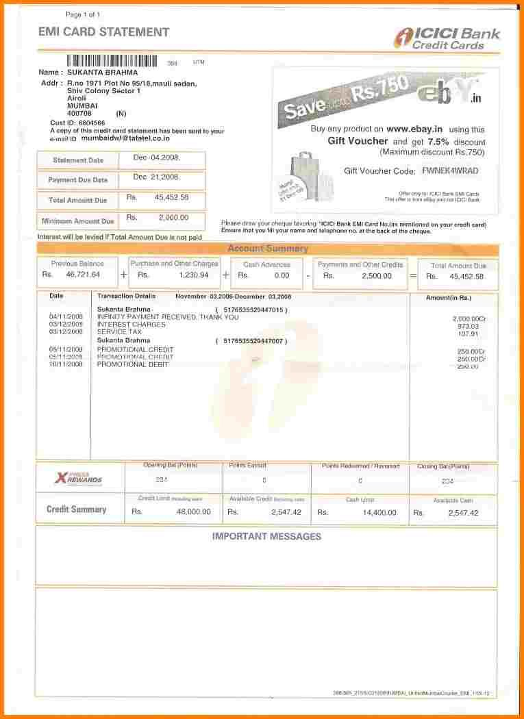 8 icici credit card statement free invoice letter