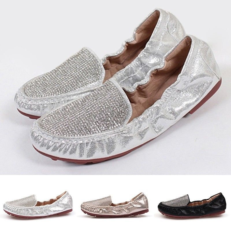 215c859cc17195 Chic Women Fold Up Flats Fashion Rhinestone Pumps Comfy Round Toe Casual  Shoes