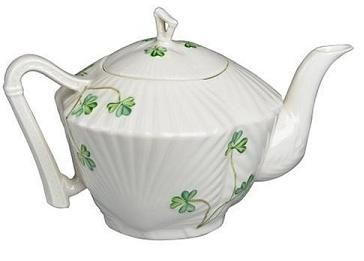 This is the Belleek Teapot that I have.... se  Belleek Harp Tea Pot