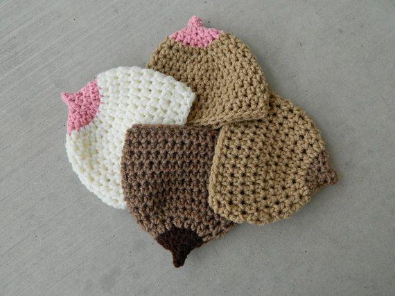 Handmade Crochet Boob Beanie Breast Beanie By Littlebirdbands