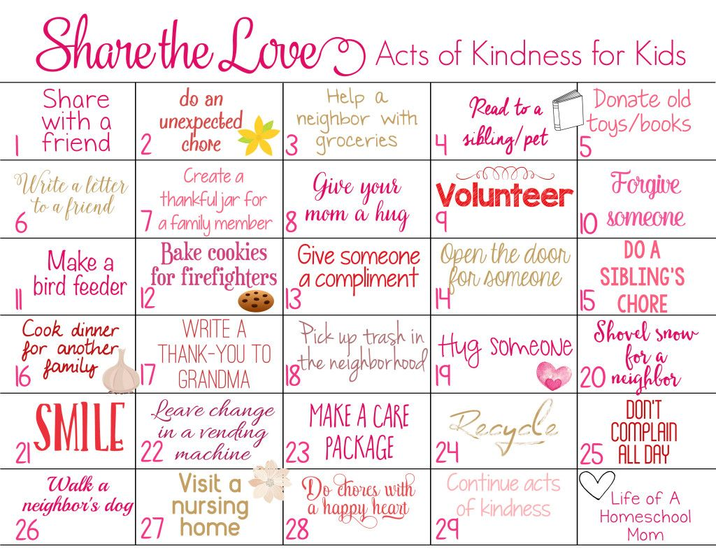 Share The Love 29 Day Kindness Challenge For Kids With