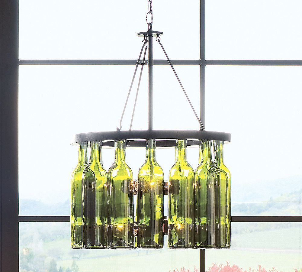 Upcycle recycle reuse upcycled lighting ideas design art this great idea for wine bottle reuse actually comes from pottery barn and is a chandelier made from an iron ring with reused green glass arubaitofo Choice Image