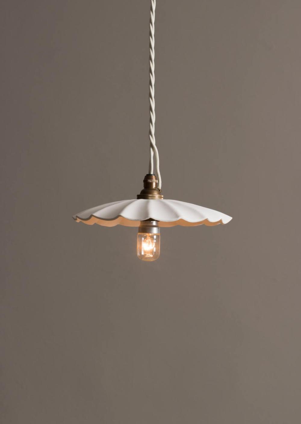 Large Wide Pleat Porcelain Pendant Devol Kitchens In 2020 Pendant Lighting Devol Kitchens Ceiling Rose