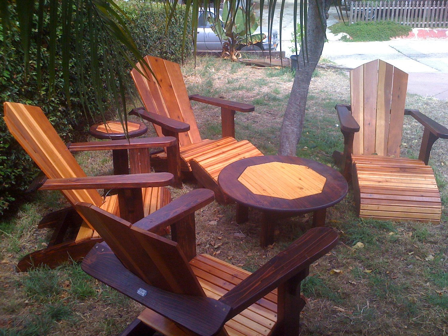 Outdoor Redwood Adirondack Patio Set Lawn Furniture With Chairs, Tables U0026  Ottoman. $1,099.99,