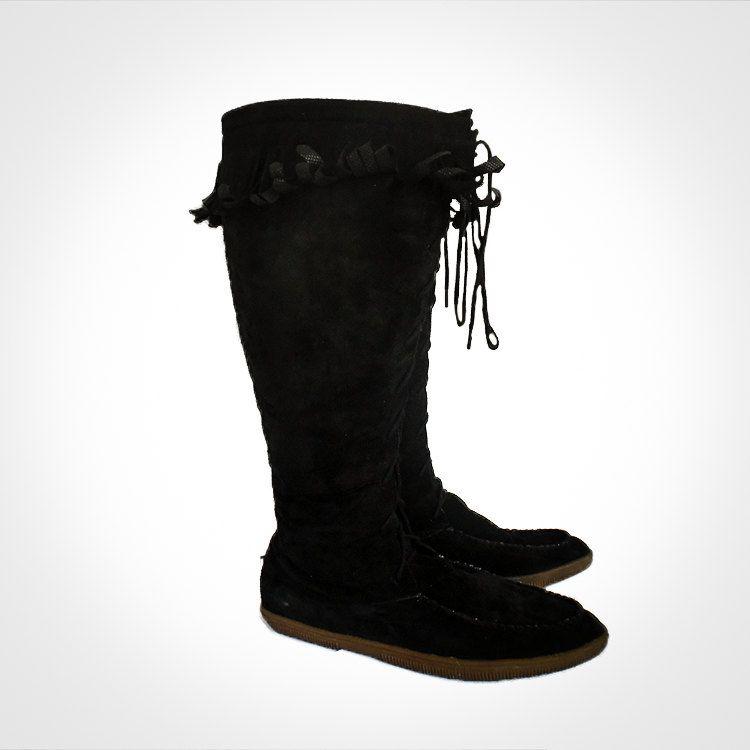 e3ab5008d29 SALE Women s Hippie Vintage Indian Southwestern Fringe Black Suede Knee  High Lace Up Rubber Sole Moccasins 11