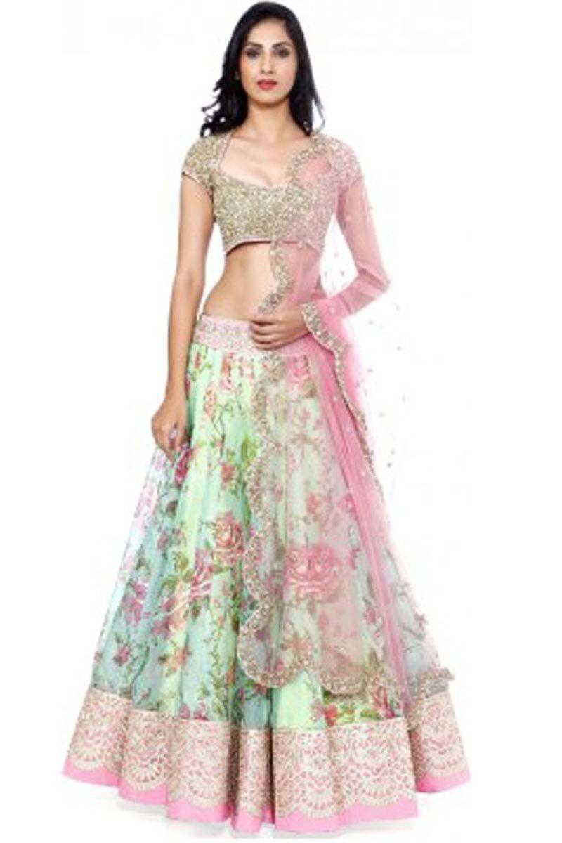 00fcd3818f Peach Georgette Net Designer Ghaghra Choli. Buy Peach Georgette Net  Designer Lehenga ...