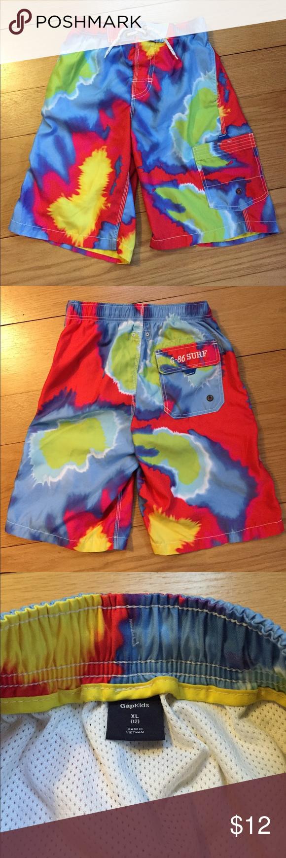 16713202c9 GapKids swim shorts size 12 Gap Kids tyedye swim shorts with inside lining.  In great condition!! Size XL/12 with drawstring inside to adjust size of  waist. ...