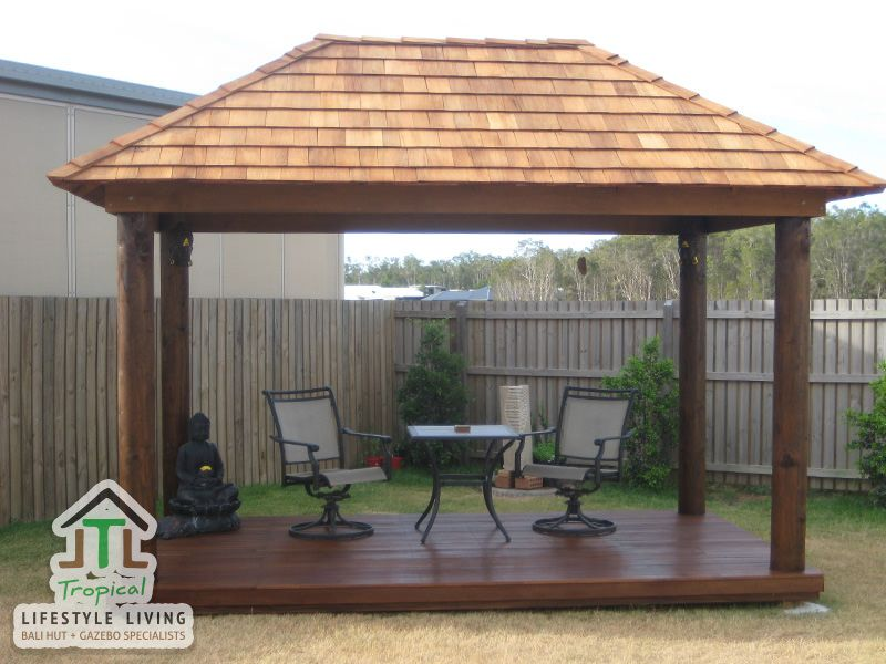 Gazebo Roofs An 8 Sided Gazebo Over A Decking With The Roof Frame Completed Gazebo Roof Architectural Shingles Patio Roof