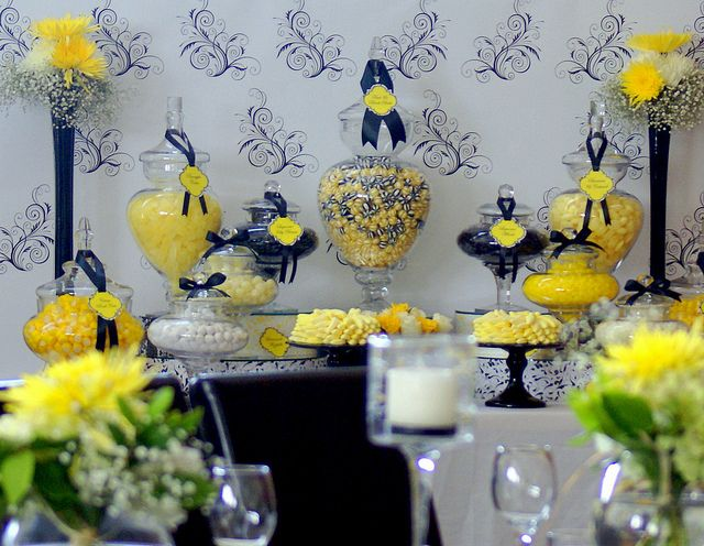 Pleasant Black White Yellow Wedding Candy Buffet By The Couture Download Free Architecture Designs Embacsunscenecom