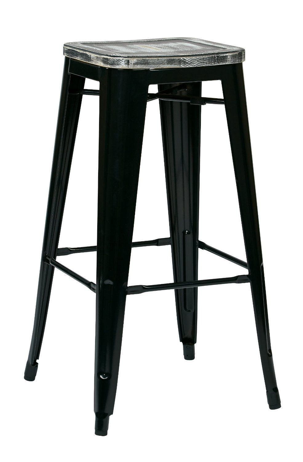"""OSP Designs BRW31303A4-C306 Bristow 30"""" Antique Metal Barstool with Vintage Wood Seat, Black Finish Frame & Pine Alice Finish Seat, 4 Pack"""
