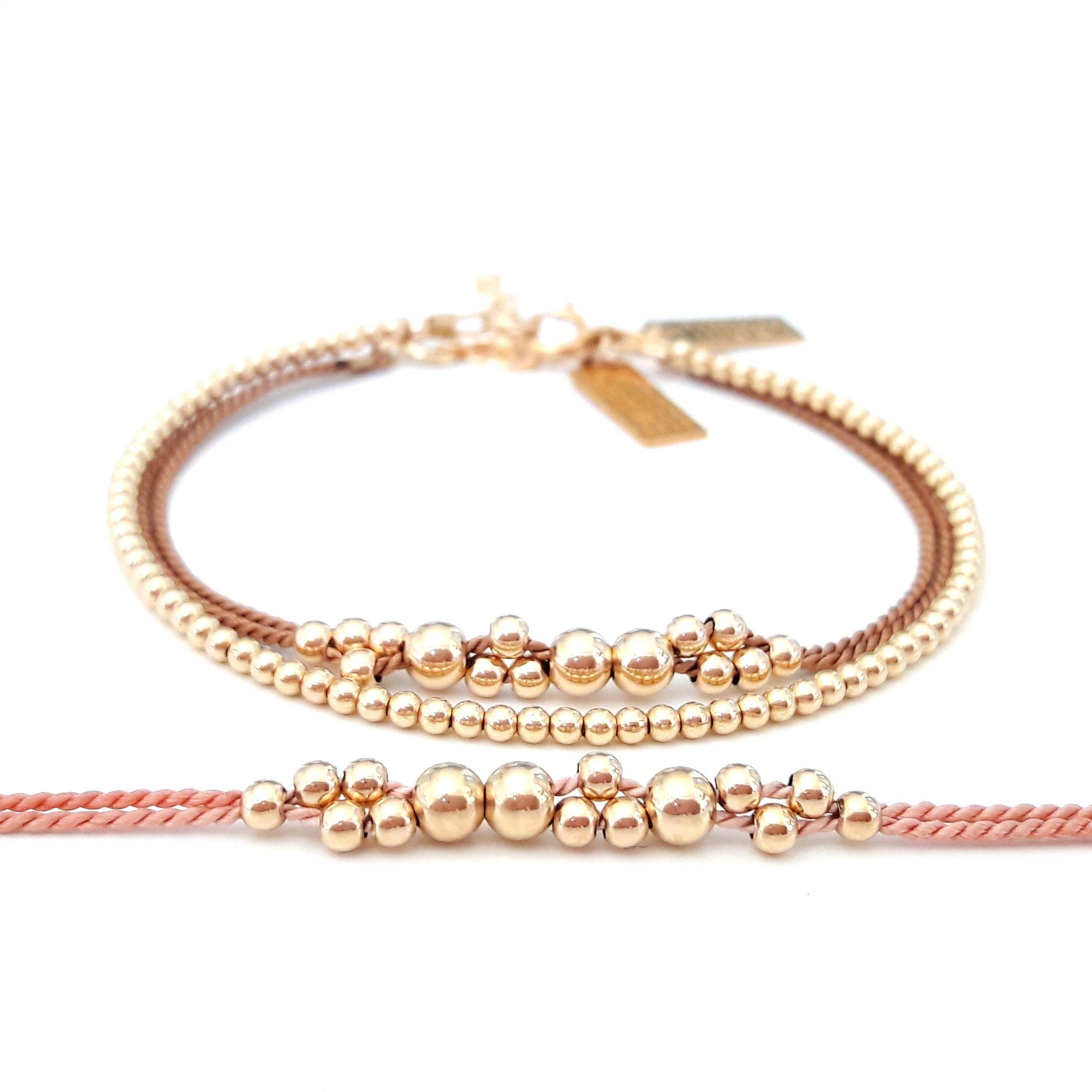 Gold seed bead bracelets perfect style for elegant girls handmade