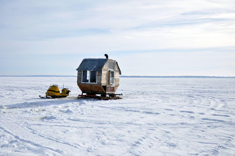 Ice Fishing Shack On Lake Of Two Mountains Quebec Ice Fishing Shack Ice Fishing Shanty Fishing Shack