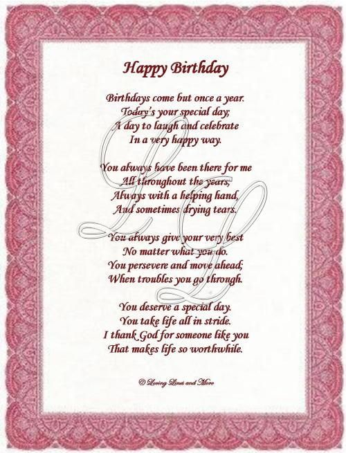 Birthday wishes for someone special poem