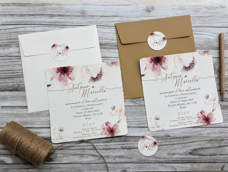 Segnaposto Matrimonio Naturale.Invito Matrimonio Floreale Acquerello Carta Naturale Kraft