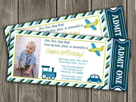 Printable Transportation Ticket Birthday Invitation