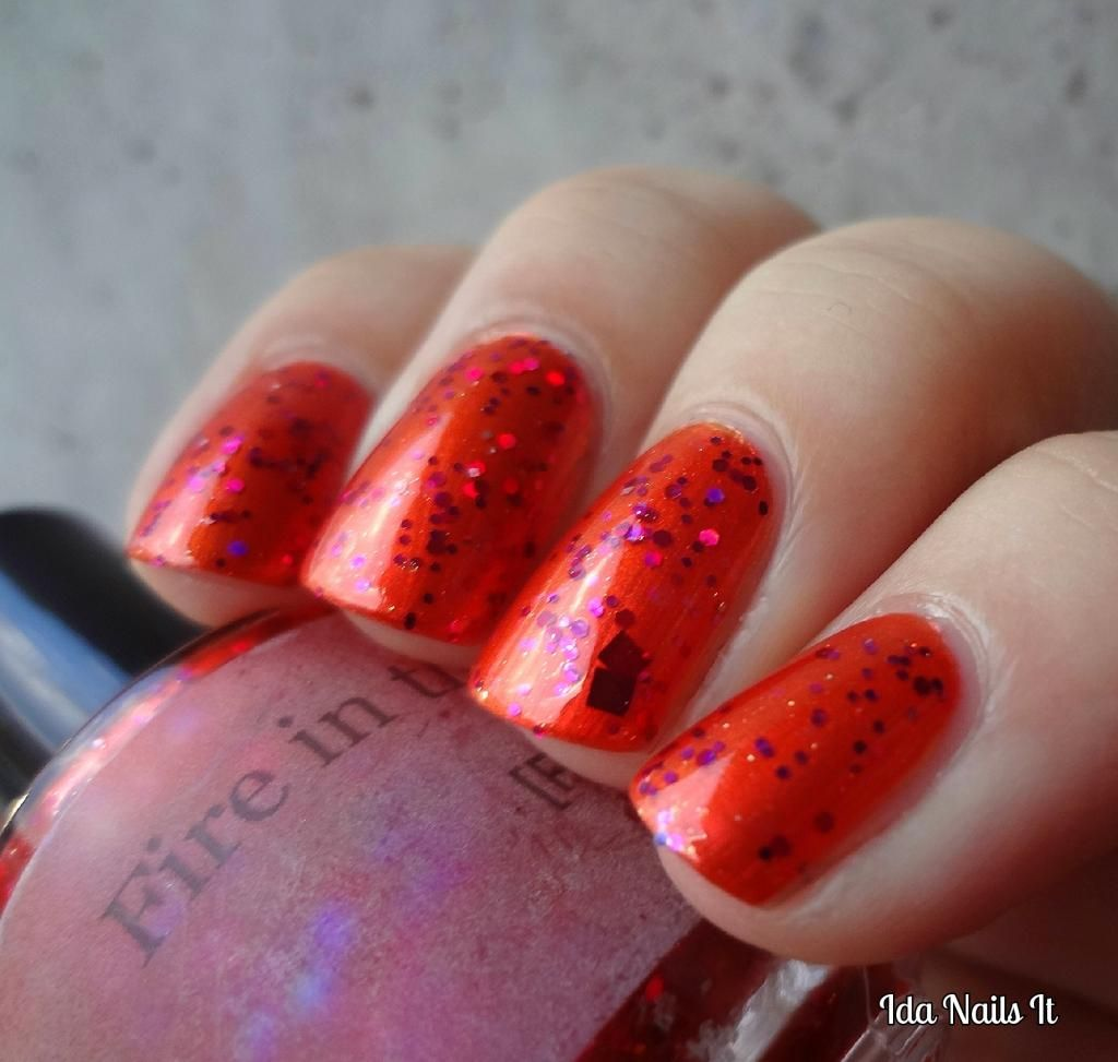 Pahlish Fire in the Taco Bell Layered over Lilacquer Roo-bee Rhod