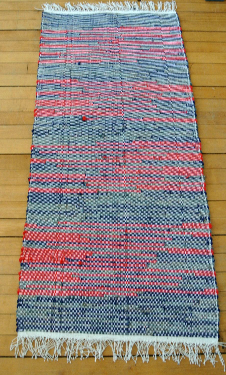 Hand Woven Rag Rug Union Loom Cotton Blend Large Cottage Chic Primitive By Longtallsallys On Etsy