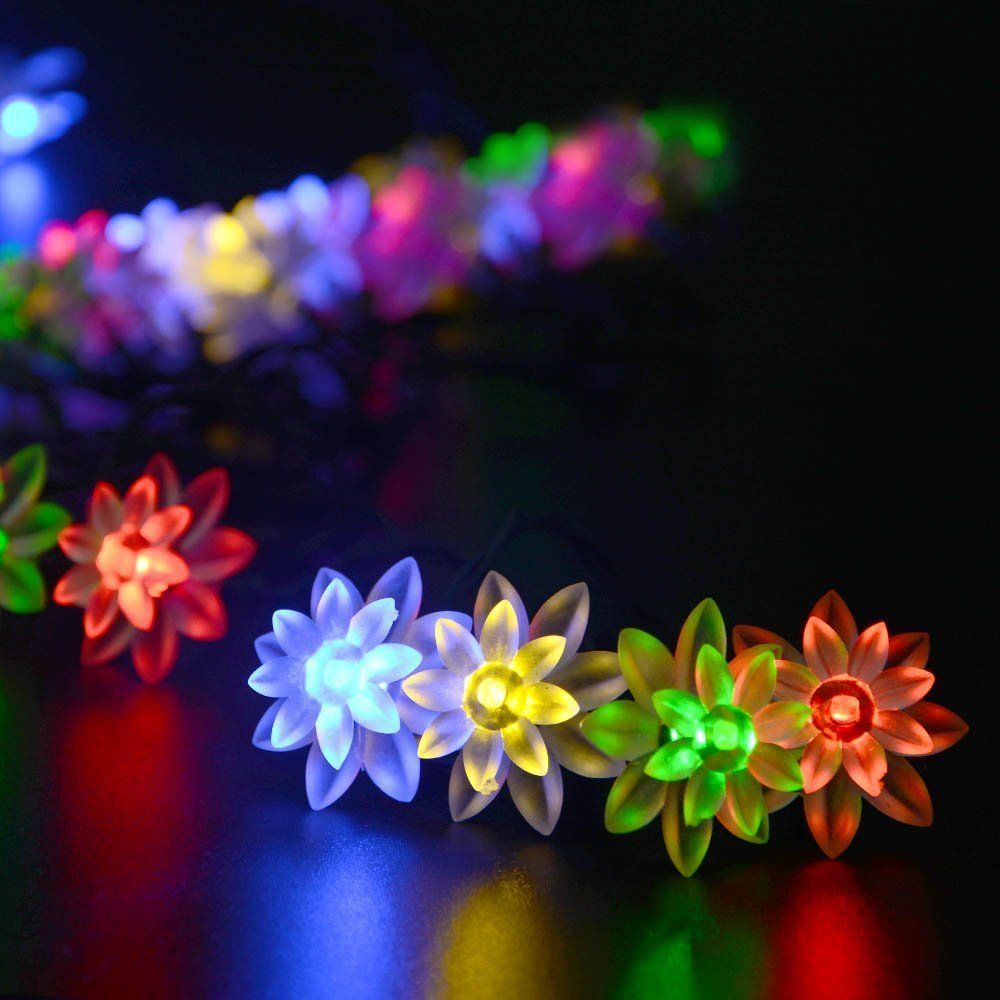 Ledertek Solar Outdoor String Lights 19 7ft 30 Led Lotus Flower Solar Powered Fairy Lights For