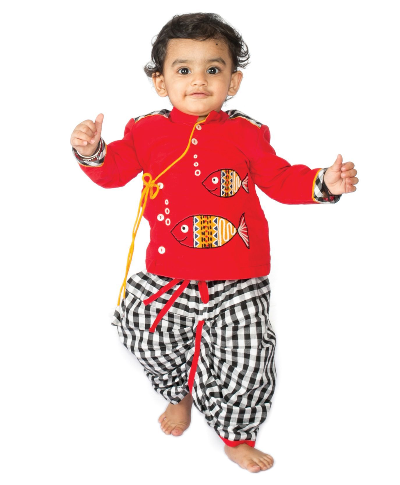 2dff346943a Buy Tiber Taber Fishy Dhoti Kurta Set Red for Boys (3-6 Months ...