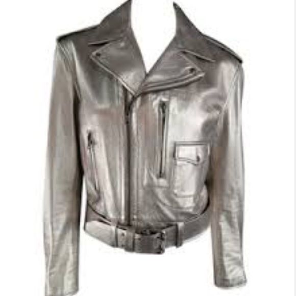 Metallic Leather Moto Jacket Gorgeous, gorgeous, GORGEOUS! 100% Vegan leather + silver metallic coating. Motorcycle style jacket, paired with silver hardware + zipper detailing-------- Like new condition. Size: SMALL. Retail: $340 bebe Jackets & Coats