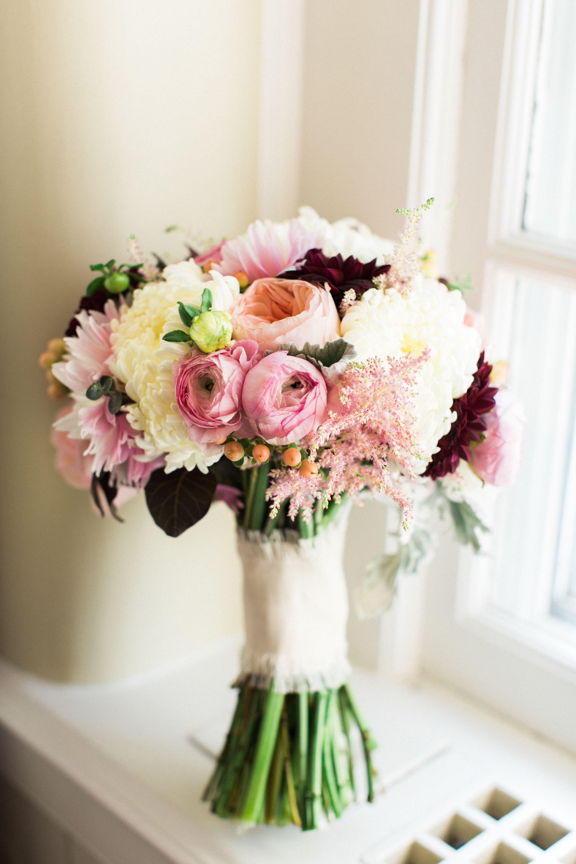 Pink Garden Rose And Dahlia Bridal Bouquet Bouquets Pinterest