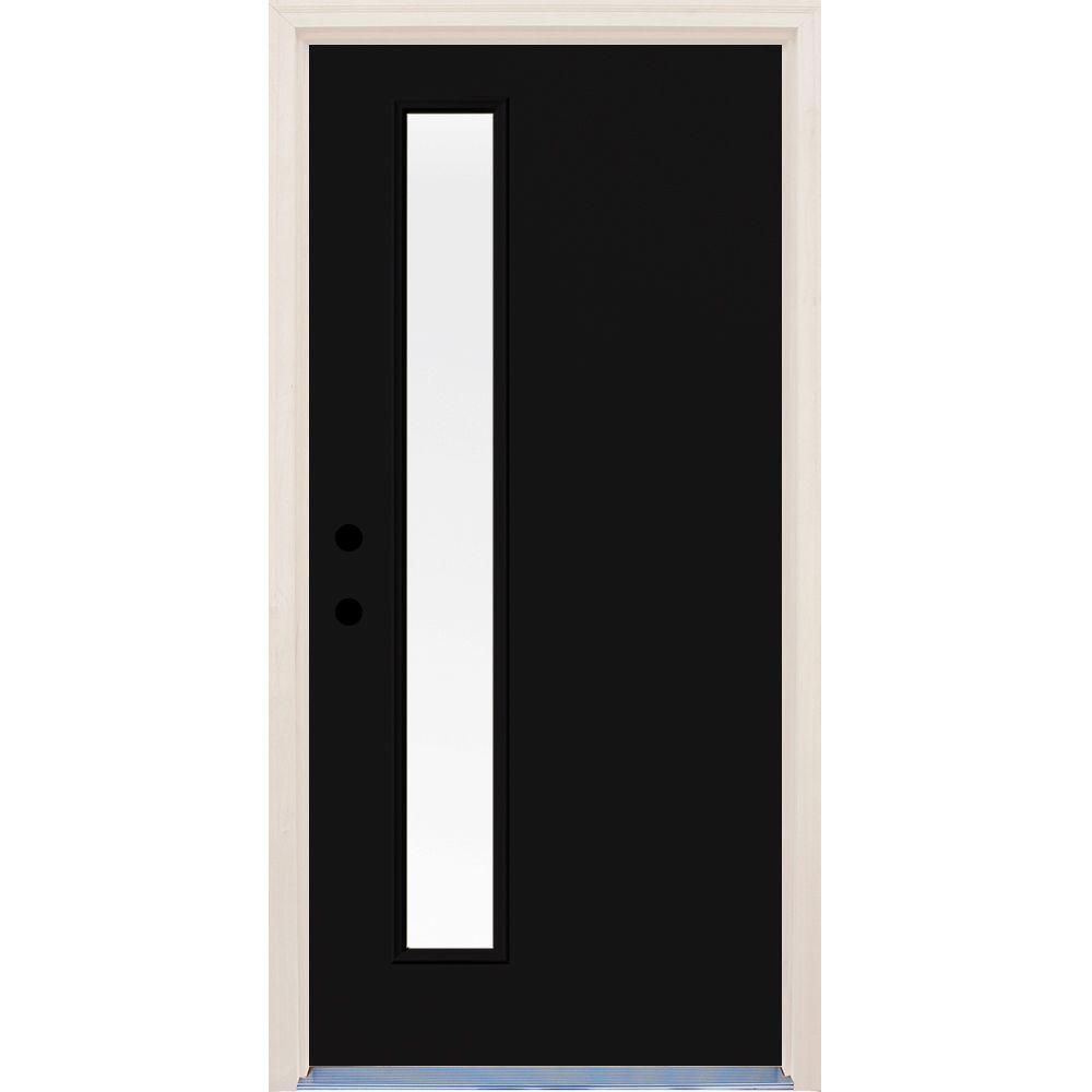 Builders Choice 36 In X 80 In Inkwell Right Hand 1 Lite Clear Glass Painted Fiberglass Prehung Front Door With Brickmould Hdx164426 Clear Glass Modern Front Door Outdoor Doors