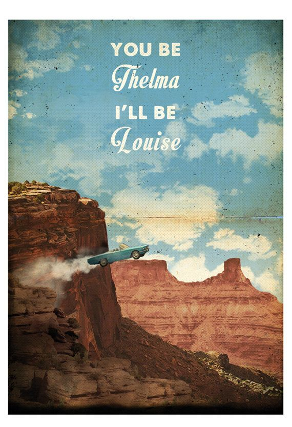 Thelma And Louise In Thelma /& Louise B/&W Poster Print