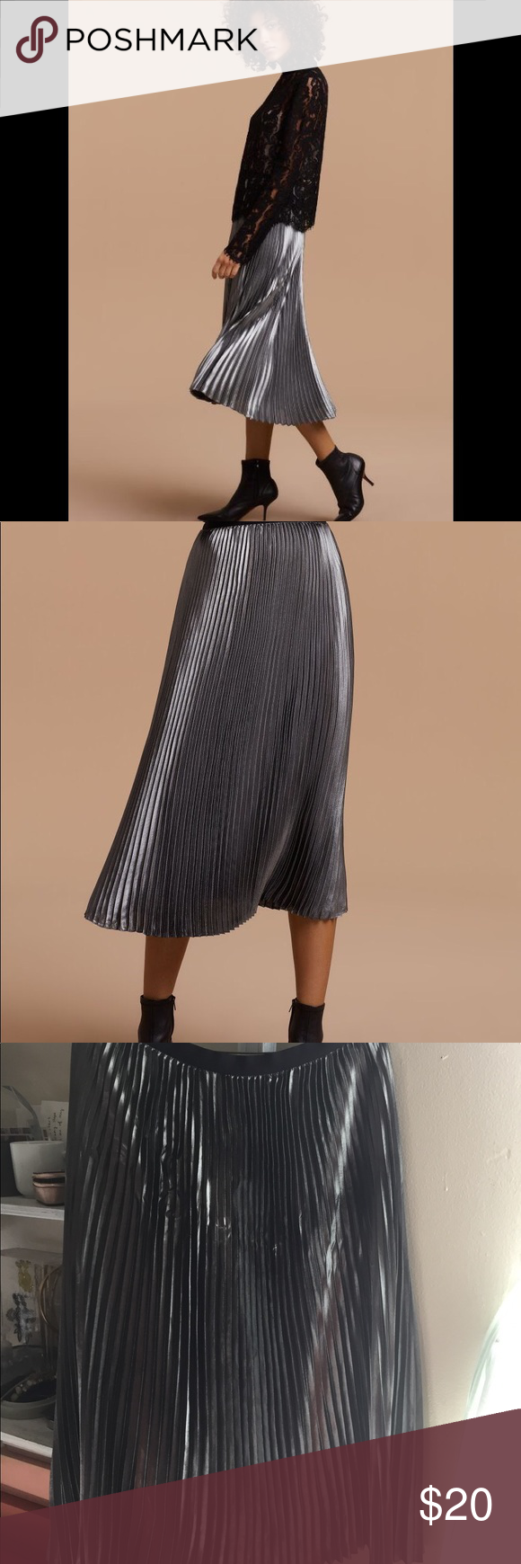 2a9dd9664 Aritzia Babaton sz L silver pleated skirt Worn once ! No stain or tear Aritzia  Skirts Midi. Find this Pin and more ...