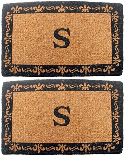 "Geo Crafts Imperial Fleur De Lis Doormat, 24 by 39-Inch, ""S"" Monogram"