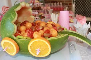 Baby shower fruit salad pram