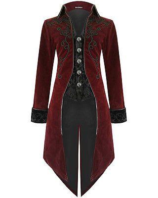 492208997 Devil Fashion Mens Tailcoat Jacket Red Velvet Goth Steampunk Aristocrat  Regency